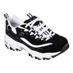 A classic look gets updated with comfort in the SKECHERS D'Lites Training Sneaker. Smooth trubuck leather and striped fabric upper in a lace up sporty casual sneaker with stitching and overlay accents. Skechers Sneakers, Shoes Sneakers, Memory Foam, Baskets, Skechers D Lites, Glass Shoes, Navy Blue Shoes, Fabric Shoes, Black And White
