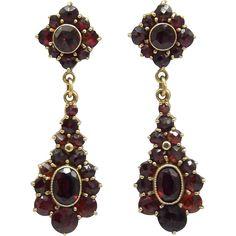 14 K Gold Bohemian Garnet Earrings  -- found at www.rubylane.com #vintagebeginshere #christmas
