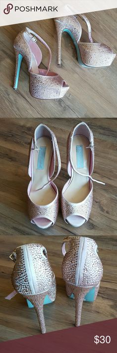 Betsey Johnson heels Womens stiletto heels by Betsey Johnson. These are pink with sequins cover the outside. They are in great shape with one or two sequins missing Betsey Johnson Shoes Platforms