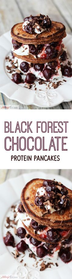 Were kind of going crazy over protein pancakes over here. These stacked & stuffed Black Forest Cake Chocolate Protein Pancakes are gluten free, low in fat and packed with high quality fermented dairy protein. Suddenly, Im actually looking forward to my