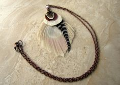 Bleached Peacock Feather Necklace  Antiqued by peacefrogdesigns, $25.00