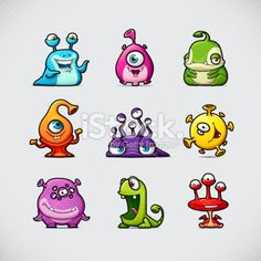 Cute Cartoon Monsters Royalty Free Stock Vector Art Illustration