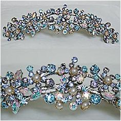 """Blue Bell Blues - A full spectrum of various shapes and shades of blue and clear crystals create a floral design with pearl accents. Design is approx. 5 1/2"""" in width and approx. 1 1/2"""" in height. Tiara is held in place with a 2 1/2"""" comb and 3 hair snaps. Available as shown or in clear. Handmade by Paris. Custom order."""