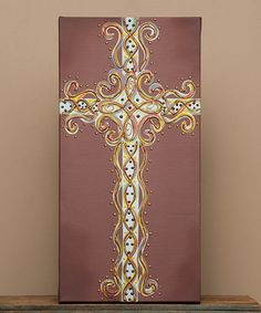 $29.99 Love this Brown Cross 12'' x 24'' Gallery-Wrapped Canvas on #zulily! #zulilyfinds