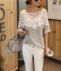 Lace Cutout Handmade Crochet Cape Collar Batwing Sleeve T-shirt