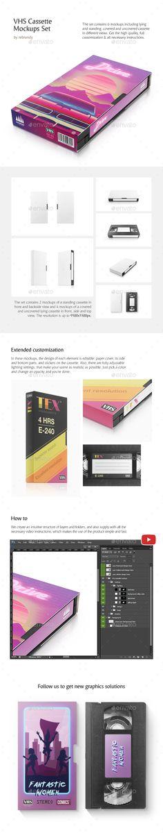 Vhs Cassette Mockups Set Product Mock Ups Graphics Vhs Cassette Cassette Mockup
