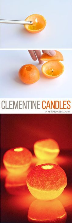 These clementine candles are really easy to make, and will burn for about half an hour. And they smell AMAZING!