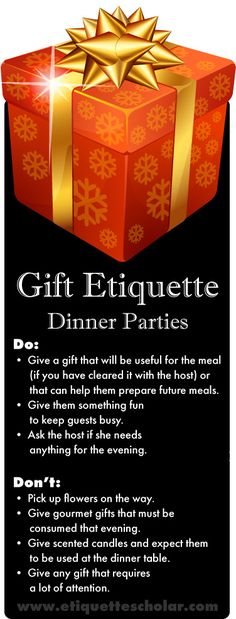 Dinner Party Gift Dos and Donts - Dinner party guest etiquette tips to ensure you keep getting invited to the party! Etiquette Dinner, Dinning Etiquette, Etiquette And Manners, Good Manners, Table Manners, Self Improvement Tips, Party Guests, Hostess Gifts, How To Know