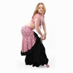 Pink Lace Milonga Skirt  Belly Dance Latin Dance by dreamingamelia, $60.00