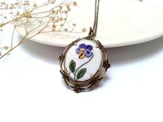 Dancing Pansy hand embroidered pendant necklace от ConeBomBom