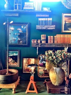 study. Teal Walls, Wall Colors, Study, Dark, Interior, Green, House, Furniture, Home Decor