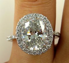Estate Vintage 4.05ct Classic OVAL Cut Diamond Halo EGL USA Engagement Ring in 18k White Gold