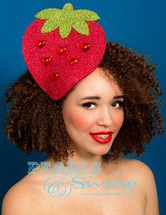 Xuxu - Huge Sureal strawberry fruit glitter headpiece by Pearls & Swine at IAMA