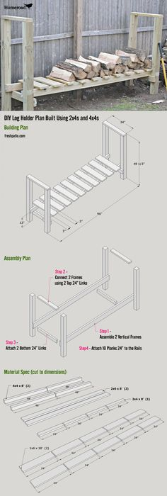 Free Firewood Rack Plan - total cost $52 for an almost 1 full Rick of wood storage.