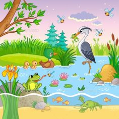 Buy Vector Set with Nature and Animals by svaga on GraphicRiver. Vector set with nature and animals in the children s cartoon style. Lovely crawfish and fish on water. Nature Drawing For Kids, Drawing Lessons For Kids, Art Drawings For Kids, Animal Drawings, Easy Drawings, Art For Kids, Cartoon Cartoon, Cartoon Styles, Kindergarten Drawing