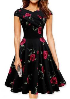 Floral Ruffled A-Line Swing Dress
