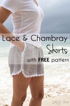 Free pattern: Lace trimmed shorts These lace trimmed shorts were made for summer! Melissa from Blank Slate Patterns and Melly Sews shares a free sewing pattern for making them. Her free pattern fits a
