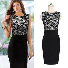 Sexy Women Slim Lace Bodycon   Sleeveless Pencil Dress Black Plus Size