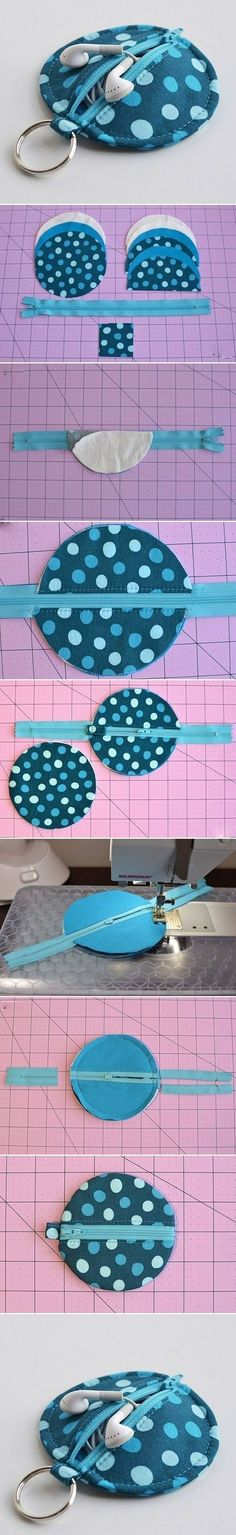 I so need to make one of these from some of my fabric scraps! Great way to keep track of earphones!