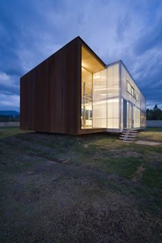 Intersection of a wood cube with a glass cube.