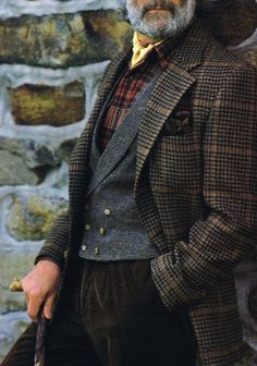 Menswear — Brannoch Advertisement - Fall 1989 Source: The... Plaid Outfits, Girly Outfits, Sharp Dressed Man, Well Dressed Men, Moda Formal, Tweed Run, Mode Vintage, Gentleman Style, British Style