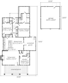 1804 sq. Ft. 3 br. No study, utilize screen porch as outdoor living room. Fireplace & heat lamps? Good starter.