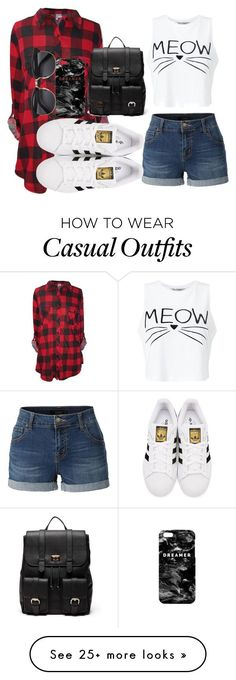"""Casual"" by chap15906248 on Polyvore featuring Miss Selfridge, LE3NO, adidas…"