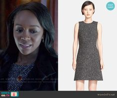 Michaela's tweed dress on How to Get Away with Murder.  Outfit Details: http://wornontv.net/53455/ #HTGAWM