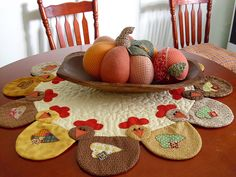 Tapete patchwork con gallinas