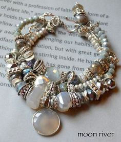 so luminous and fun, this is a stunner piece -with three chunky strands of fabulous stones -one of soft grey pearl to cz set wheels, with floating beads, alongON SALE moonstone bracelet grey moonstone bracelet pyrite bracelet labradorite bracelet boh Wire Jewelry, Boho Jewelry, Jewelry Crafts, Jewelry Bracelets, Jewelery, Jewelry Accessories, Handmade Jewelry, Jewelry Ideas, Making Bracelets