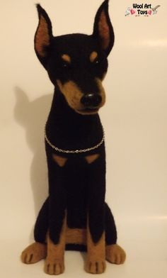 Doberman  Artist Needle Felted Dog Sculpture  Dog by WoolArtToys