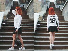 Vladyslava Kozachyshche - River Island Necklace, Bershka Skirt, Bershka Backpack, Nike Huarache - Personal Sweatshirt