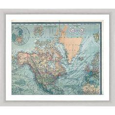 Global Map Quariptych II 15 inch x 13 inch Wall Art, Silver