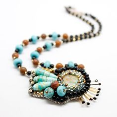 Beaded Statement Necklace brown turquoise by PurpleDotBoutique, $50.00