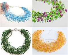 Free Beaded Jewelry Patterns | International Jewelry Patterns, crocheted air necklace of beads