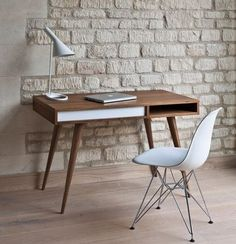 Mid century modern minimalism desk.  www.twosimplepeople.com