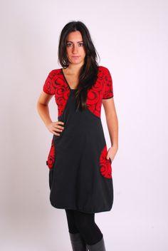 """Vestidos por la rodilla - Vestido """"Ichnusa"""" (serigrafía / rojo) - hecho a mano por moondeval en DaWanda"""