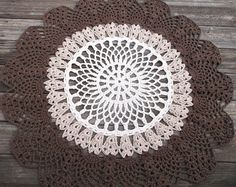 Off White Jute Brown Cotton Crochet Rug in by byCamilleDesigns