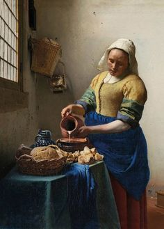 'The Milkmaid by Johannes Vermeer Painting Print on Paper Johannes Vermeer, Amsterdam Wallpaper, Vermeer Paintings, Rembrandt Paintings, Delft, Baroque Art, Wallpaper Panels, Unique Wallpaper, Classic Paintings