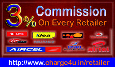 Get 3% Commission on Charge4u Retailers. http://www.charge4u.in/retailer Free Retailer and Distributor Account,  Lifetime Free Registration for mobile,dth,datacard..