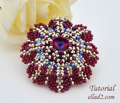 Purpurea Flower Pendant is a combination of Cubic RAW, Herringbone stitch and Peyote Stitch.Beading Tutorial is very detailed,step by step with photos