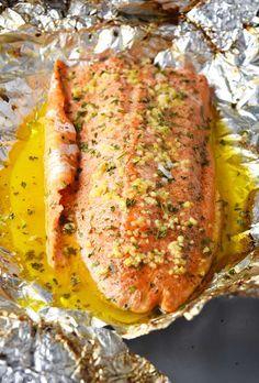 Butter Steelhead Trout in Foil Easy lemon, garlic, and butter steelhead trout recipe prepared in foil.Easy lemon, garlic, and butter steelhead trout recipe prepared in foil. Trout Recipes Oven, Lake Trout Recipes, Rainbow Trout Recipes, Rainbow Trout Recipe Baked, Cooking Rainbow Trout, Steel Head Trout Recipes, Grilled Trout Recipes, Grilled Pork, Steelhead Trout Recipe Baked