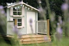 I love everything about this play house - color, windows, deco. Painted Playhouse, Boys Playhouse, Garden Playhouse, Playhouse Outdoor, Playhouse Ideas, Kids House Garden, Home And Garden, Cubby Houses, Play Houses