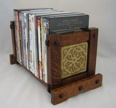 Arts and Crafts adjustable book rack with tile.