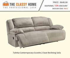 Toletta Contemporary Granite 2 Seat Reclining Sofa