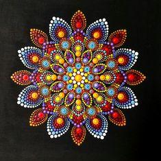 Beautiful mandala hand painted by dots Dot Art Painting, Painting Patterns, Stone Painting, Mandala Design, Mandala Pattern, Mandala Canvas, Mandala Artwork, Mandala Painted Rocks, Mandala Rocks