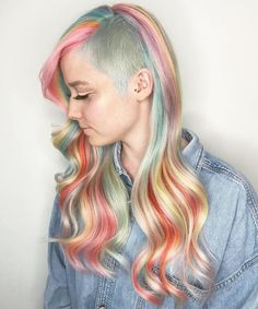 Long Pastel Rainbow Hair With Side Undercut