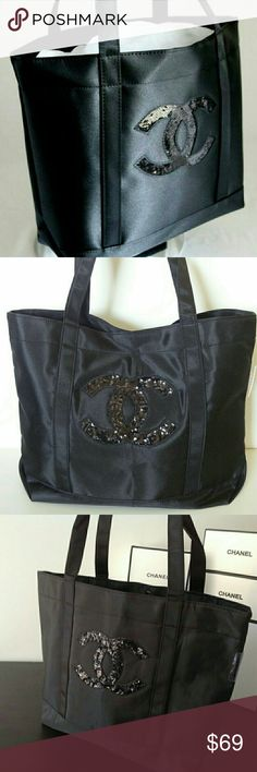 Authentic chanel vip black tote Authentic and New Chanel tote bag from prècision skin care. Beautiful black nylon shiny fabric, magnetic snap closure, no Inside pockets.  Beautiful sequin CC. CHANEL Bags Cosmetic Bags & Cases