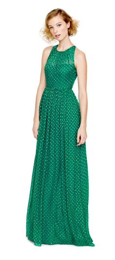 Fall Bridesmaid Trend Report: We can't resist a pattern, especially in this clover green from J.Crew. (Plus, this season's popular illusion neckline.)