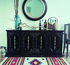 Painted vintage black dresser by The Turquoise Iris